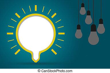ampoules, concept, créativité, idée, lumière