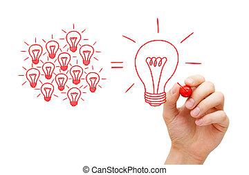 ampoules, concept, fonctionnement, lumière, idée, équipe
