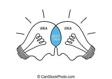 ampoules, concept, idée, mieux