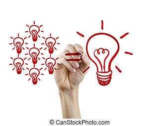 ampoules, concept, lumière, main, collaboration, dessiné