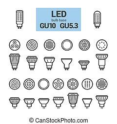 ampoules, ensemble, mené, contour, gu10, lumière, vecteur, icône