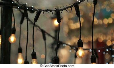 ampoules, extérieur, filament., glower, vendange, lumière, ...