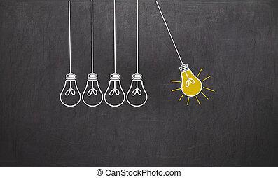 ampoules, grand, concept, lumière, créativité, idea.,...
