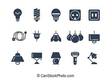 ampoules, icônes, set., symboles, lampe, vecteur, noir, électrique