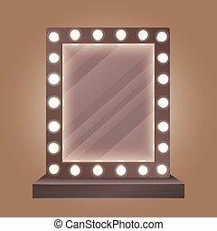 ampoules, illustration., maquillage, réaliste, vecteur, miroir