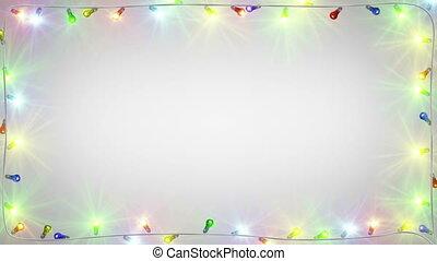 ampoules, lumière, cadre, seamless, noël, boucle
