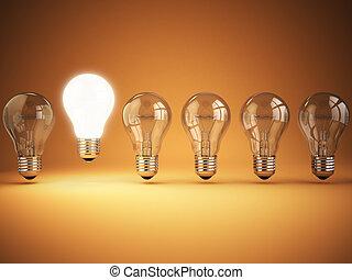 ampoules, lumière, concept., idée, unicité, originalité, incandescent, fond, orange, une, ou, rang