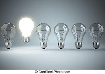 ampoules, lumière, concept., idée, unicité, originalité, incandescent, une, ou, rang