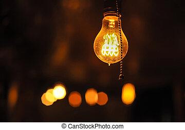 ampoules, lumière, sombre, arrière-plan., incandescent,...