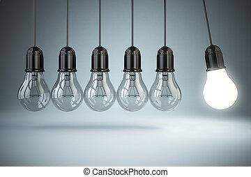 ampoules, motion., lumière, concept., perpétuel, créativité,...
