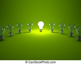 ampoules, rang, arrière-plan vert, lumière