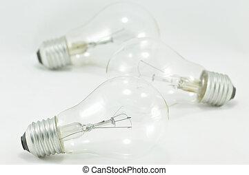 ampoules, têtes, lumière, isolé, deux, une, mieux, que