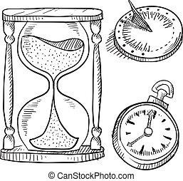 ampulheta, sundial, e, cronômetro