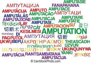 Amputation multilanguage wordcloud background concept -...