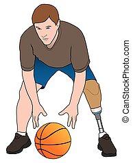 Amputee Basketball Player - Left leg amputee is enjoying a...