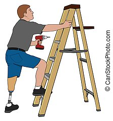 Left leg amputee is preparing to climb a stepladder to make a repair