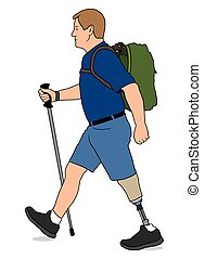 Amputee Hiker - Left leg amputee is taking a walk