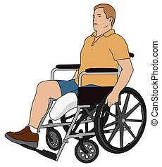 Amputee in Wheelchair - Left leg amputee is using wheelchair...