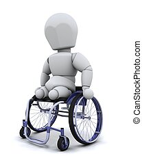 amputee in wheelchair - 3d render of an amputee in a...