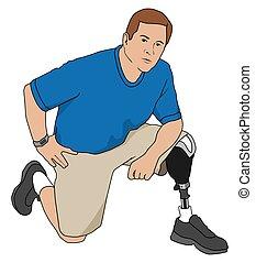 Amputee Kneeling - Left leg amputee is kneeling on floor