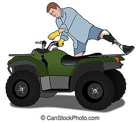 Amputee on ATV - Left leg amputee is mounting an ATV