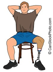 Amputee Relaxing - Left leg amputee is relaxing in a chair