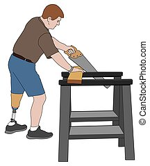 Amputee Sawing Wood - Left leg amputee is using sawhorses to...