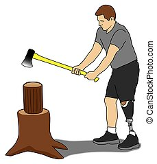 Amputee Splitting Wood - Left leg amputee is cutting up...