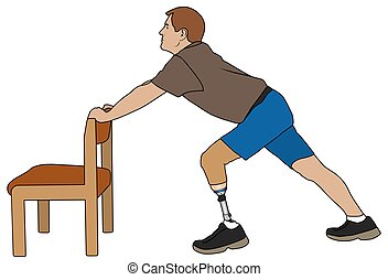 Amputee Stretching With Chair - Amputee is using chair to...