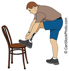 Amputee Tying Shoe - Left leg amputee is using a chair to...