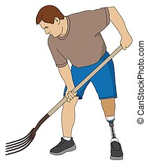 Amputee Using Pitchfork - Left leg amputee is using a...