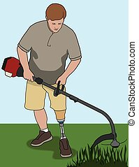 Left leg amputee is using weed whacker in his yard