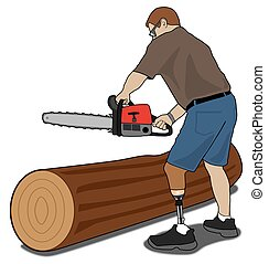 Amputee with Chainsaw - Left leg amputee is preparing to cut...