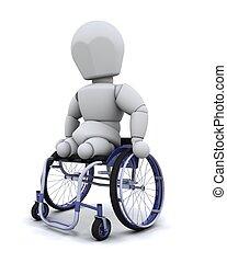 amputerad, in, rullstol