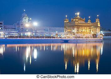 amritsar, dourado, índia, templo