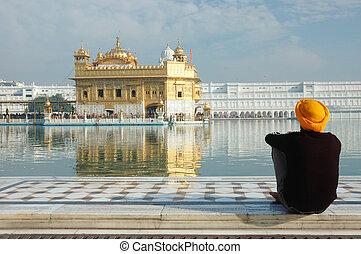 amritsar, intérieur, temple, inde, doré