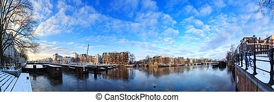 Amstel Amsterdam winter panorama