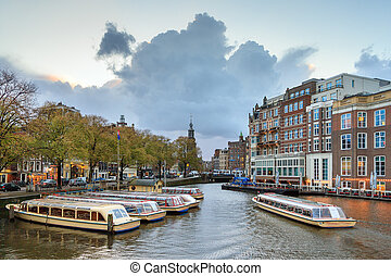 Amstel canal boats Amsterdam