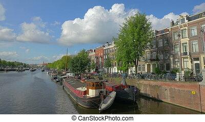 Amstel river in Amsterdam, Holland, 4k UHD - AMSTERDAM -...