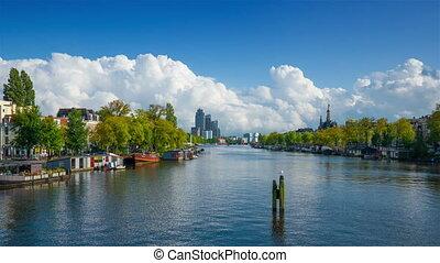Amstel river in Amsterdam, Holland, 4k UHD timelapse