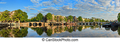 Amstel river panorama - Beautiful panoramic panorama of the ...