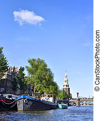 Amstel river with houseboats