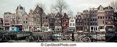 amsterdão, canal, vista, rua