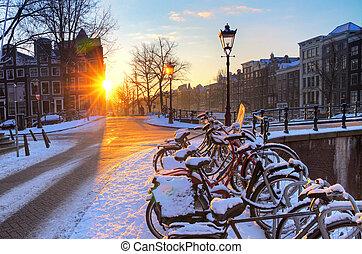 amsterdão, neve, amanhecer