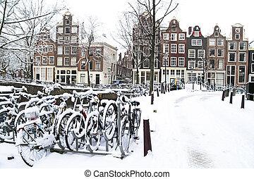 Amsterdão, Países Baixos, nevado