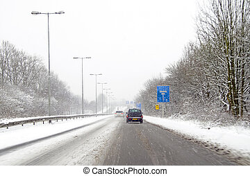 amsterdão, países baixos, snowstorm, dirigindo