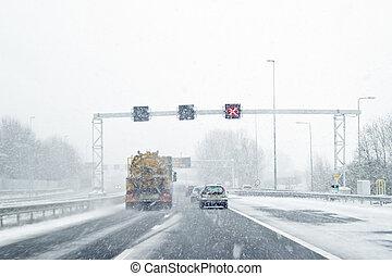 amsterdão, países baixos, snowstorm, dirigindo, durante