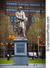 amsterdão, rembrandt, estátua
