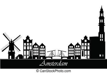 amsterdão, skyline, países baixos
