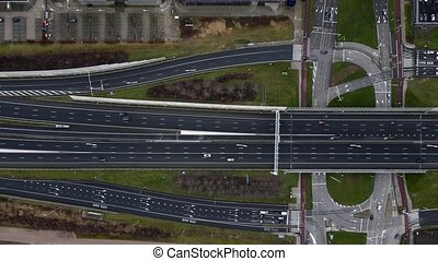 Amsterdam a10 intersection with the S102 top down aerial drone view.